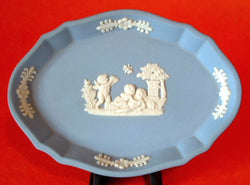Wedgwood England Jasperware Pin Dish Blue Cherubs In Box 1976