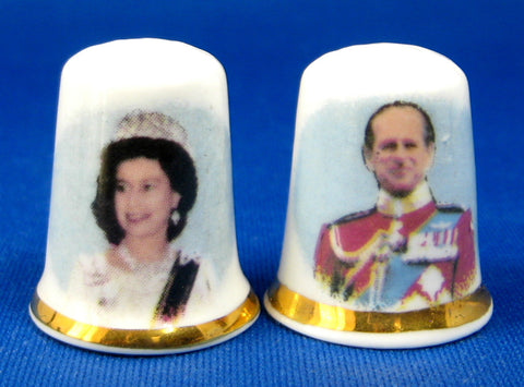Thimble Pair Queen Elizabeth And Philip 1977 Silver Jubilee Bone China Photos