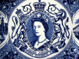1977 Silver Jubilee Queen Elizabeth II Large Plate London Blue Transferware