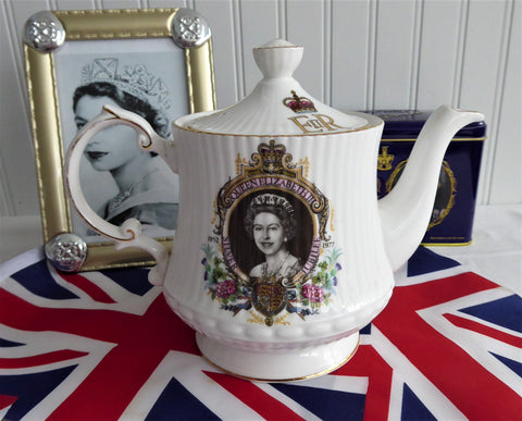 Queen Elizabeth II Silver Jubilee Teapot 1977 English Bone China Royal Memorabilia