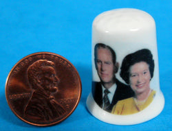 Queen Elizabeth And Philip Silver Jubilee Thimble 1977 Bone China Photo