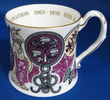 Coalport Fancy Mug 1977 Queen Elizabeth II Silver Jubilee Of Coronation Purple