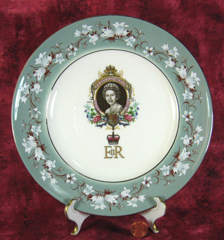 Queen Elizabeth II Plate Silver Jubilee 1977 Green Chintz Border Platinum Trim