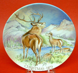 Christmas Collector Plate Crown Staffordshire 1979 Monarch Of The Glen Deer Artist Signed
