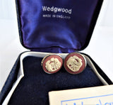 Wedgwood Jasperware Clip Earrings Sterling Silver Terracotta English Hallmarks 1979 JW