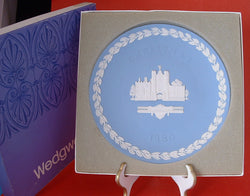 Wedgwood Jasper Christmas Plate 1980 St James In Box Jasperware Blue And White