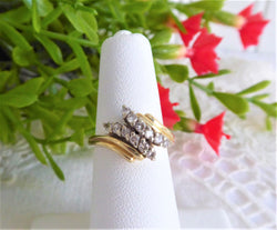 Estate Ring 14k Gold 12 Diamonds Bypass 1980s 12 Brilliant Cut Diamonds