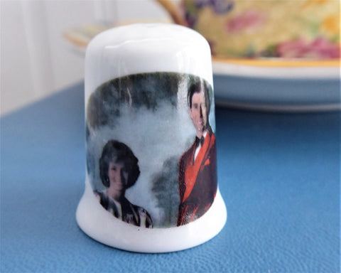 Thimble Princess Diana And Prince Charles Bone China 1980s Sewing Souvenir