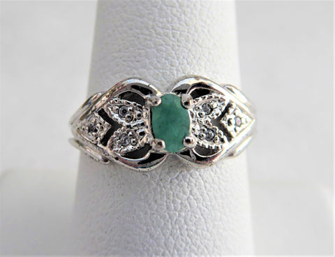 Emerald And Diamond Ring Genuine Oval Emerald 6 Diamonds 925 Silver 1970s Estate