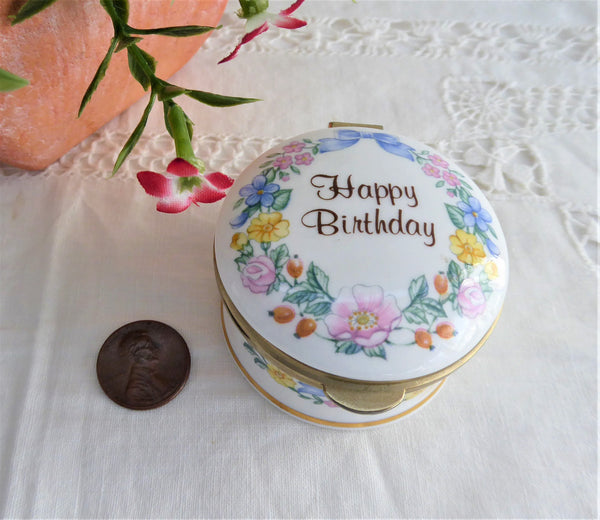 Happy Birthday Trinket Box English Porcelain 1980s Ring Box Trinket Falcon UK