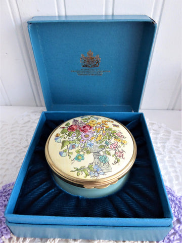Enamel Box Halcyon Flower Urn Enamel Trinket Box English Porcelain 1980s Ring Box Gift