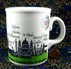 London Mug Souvenir London Landmarks Original Sticker 1980s Souvenir