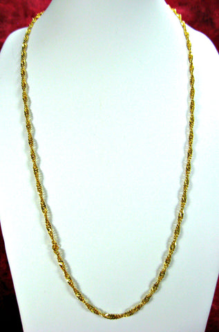 Italian 20 Inch Chain Necklace Italy 22kt Gold Over Sterling Silver Twisted Singapore
