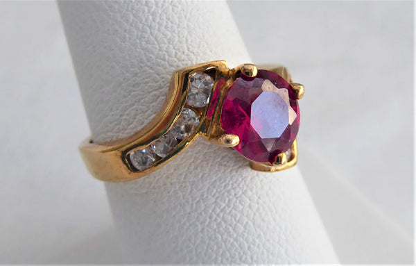 Ruby Ring 1.5 Carats 925 8 Faux Diamonds 1980s June Birthstone Size 7.35 Estate