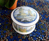 Sadler England Lidded Box Round Box 1980s London Thameside Tower Of London