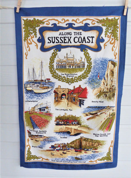 Along The Sussex Coast Tea Towel 1970s Brighton Worthing Beachy Head Colourful Cotton