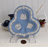 Blue Wedgwood England Dish Club Clover Shape Jasperware 1980s Small Plate
