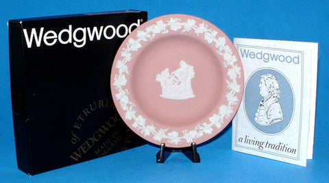 Wedgwood Pink Jasperware Cupid Oracle Dish England MIBox Small Plate