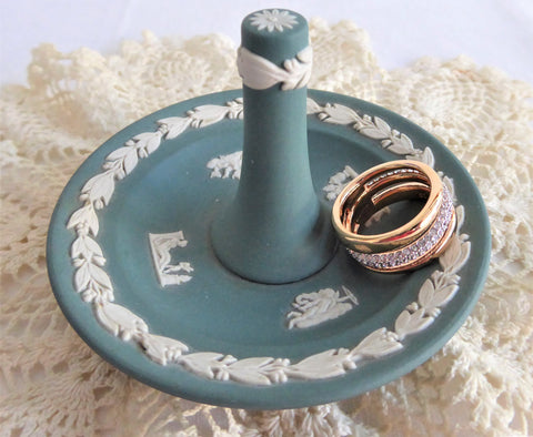 Ring Holder Wedgwood Teal Green Jasperware 1980s Cupids Proposal