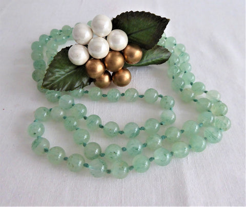 Apple Green Jadeite Knotted Bead Necklace 32 Inches Long Jade Beads Celadon