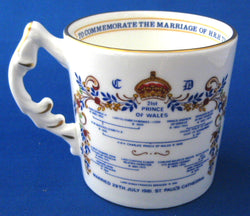 Prince Charles And Lady Diana Royal Wedding Mug Aynsley Original Sticker Geneaology