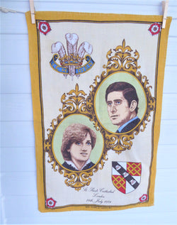 Prince Charles And Princess Diana Royal Wedding Tea Towel Blue 1981