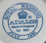 Mug Royal Wedding Charles and Diana 1981 England Adams Blue Transfer
