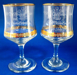 Charles And Diana Royal Wedding Etched Glass Pair Goblets Boxed 1981 Glasses Gift Ready