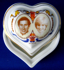 Charles And Diana Royal Wedding Heart Shape Box 1981 Trinket Keepsake