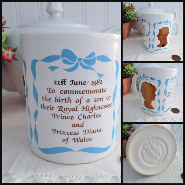 Mug Charles Diana Souvenir Birth William Blue Gold Silhouettes 1982