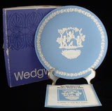 Mothers Day 1982 Wedgwood Jasper Plate Cherubs With Box Blue And White
