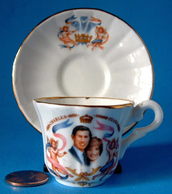 Birth Prince William Miniature Cup Saucer Charles And Diana 1982