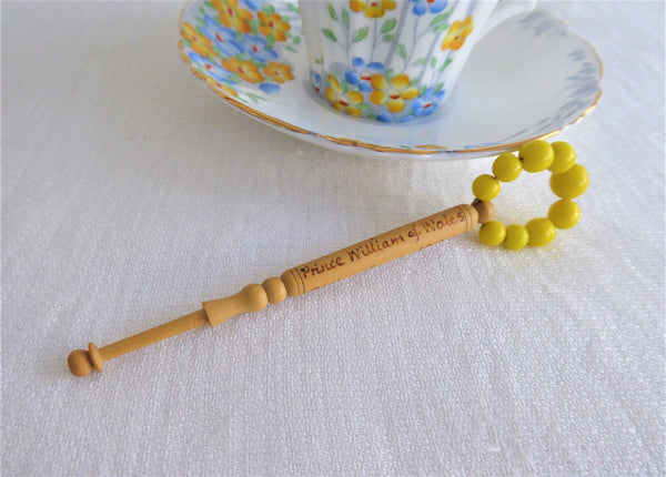 Treen Lace Bobbin Birth Of Prince William 1982 Glass Beads Turned Treen Beads Spangles