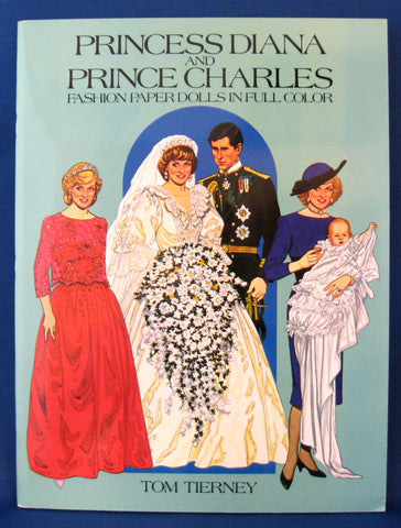 Prince Charles Princess Diana Paper Dolls Book 1985 Engagement Wedding Babies