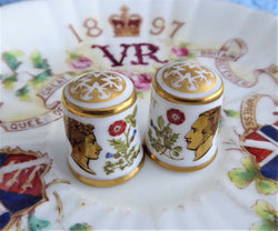 Thimble Pair Queen Victoria Albert Royal Crown Derby 150th Anniversary of Accession