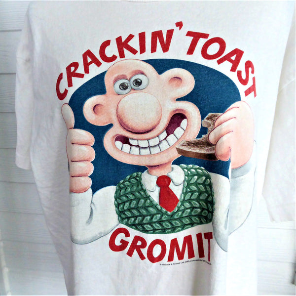 Wallace Gromit T Shirt XL Crackin' Toast 1989 100% Cotton Mens