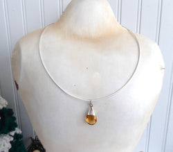 Citrine Teardrop Pendant Necklace Sterling Silver Omega Chain 1990s Faceted 4 Carat