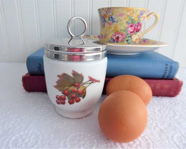 Royal Worcester Evesham Egg Coddler Double King Size Plum Leaf 1990s Fruit Theme