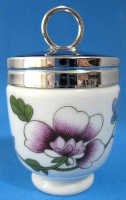 Egg Coddler Royal Worcester Astley Flowers Single 1990s Purple Blue Flowers