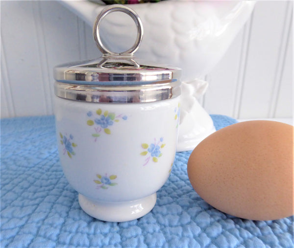 Cottage Flowers Egg Coddler Royal Worcester Astley Single 1980s Blue Chintz