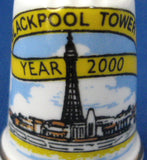 English Bone China Thimble Blackpool Tower Year 2000 Sewing Thimble Souvenir