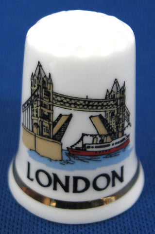 London England Thimble Tower Bridge Bone China Souvenir Sewing Thimble Souvenir