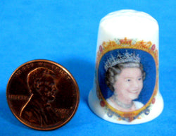Queen Elizabeth II Golden Jubilee Thimble Bone China Smiling Photo 2002