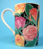 Roses On Black Dunoon Mug Christine Chadwick 2002 English Bone China