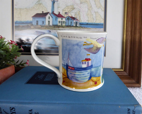 Dunoon Mug Emma Ball Beach Huts Lighthouse Poem Bone China