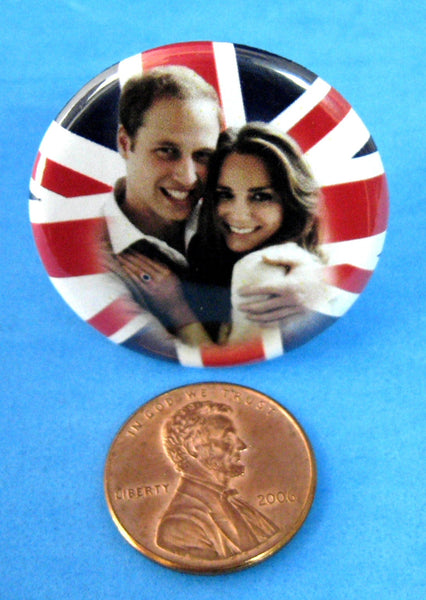 Prince William Kate Wedding Button Union Jack Pin Back 2011 Royal Commemorative