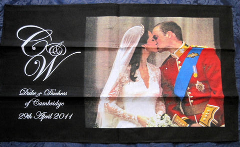 William Kate Wedding Balcony Kiss Tea Towel Royal Kiss NWT Royal Commemorative