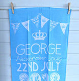 Tea Towel Prince George Birth William Kate Blue And White 2013 Royal Birth