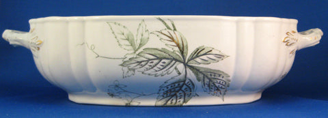 Ironstone Serving Bowl Green Transferware John Edwards 1890s Victorian
