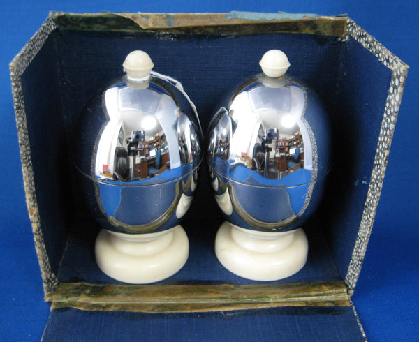 Chrome Eggcups With Lids Cozies Wool Liners Pair Boxed Vintage Kozy Kraft 1930s